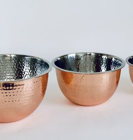 Hammered Stainless Steel Bowls Copper