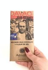 ASKINOSIE 62% Davao Dark Milk Chocolate + Fleur De Sel Sea Salt Bar