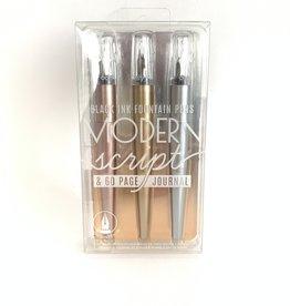 Modern Script Fountain Pen & Journal 4 Pc Set