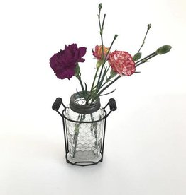 Glass Vase With Metal Frog Lid