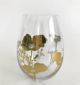 Metallic Gold Poppy Stemless Wine Glass