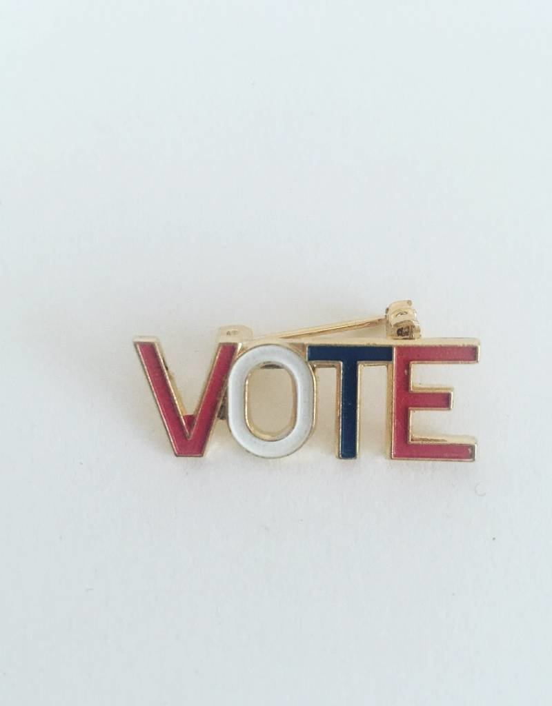 WOLF E MYROW Vintage Vote Pin Gold
