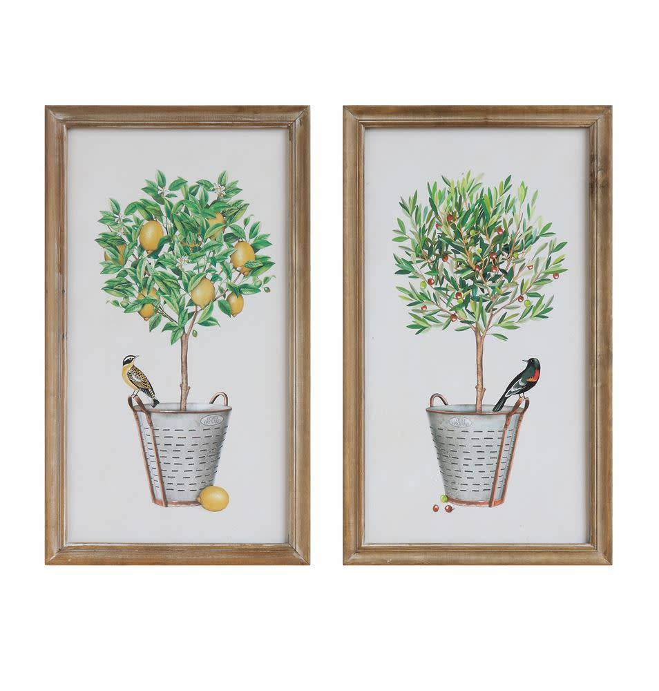 Bird & Topiary Wall Decor, 14x24, 2 Styles