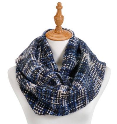 Demdaco Blue Woven Threads Infinity Scarf