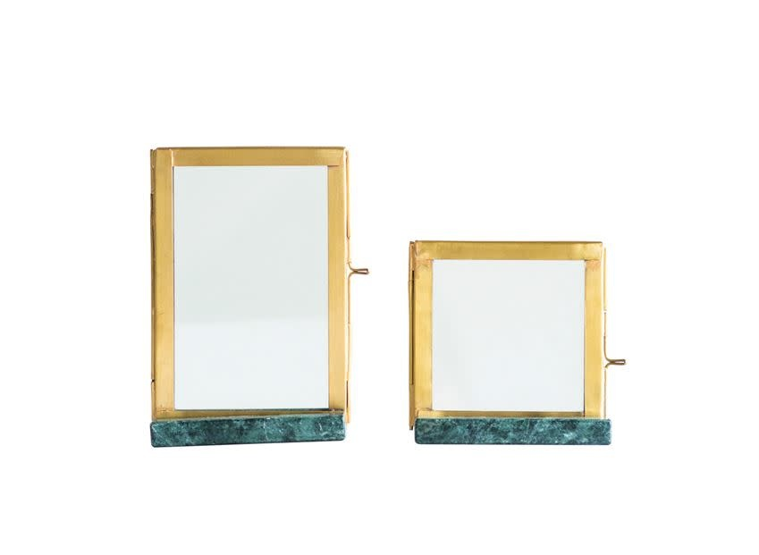 Bloomingville USA Brass&Glass Frame w/Green Marble Base 4in L x 6-1/2 in H
