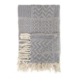 Bloomingville USA EMB Throw Cotton Blend w/Fringe 63 in x 51in