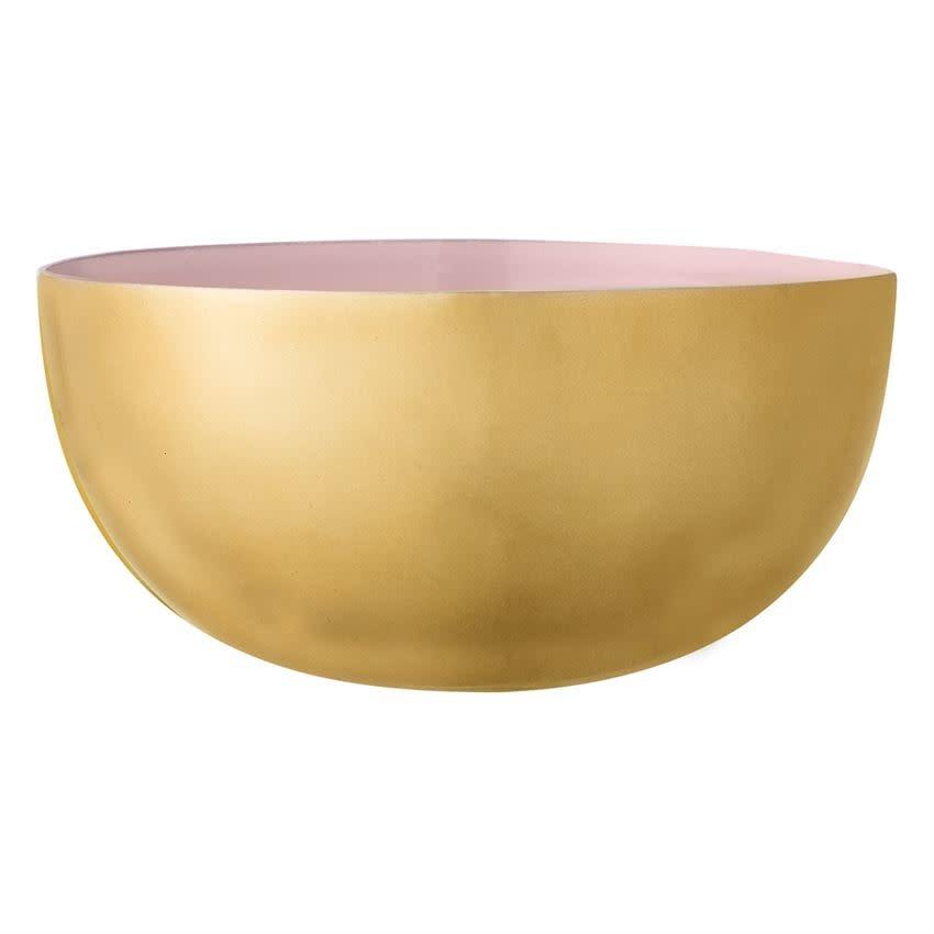 "Bloomingville USA Rose & Gold Enameled Aluminum Bowl 7-3/4"" Round x 4""H"
