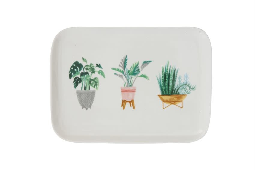 """Bloomingville USA Stoneware Platter w/ Potted Plants 9-3/4""""L x 7""""W S"""