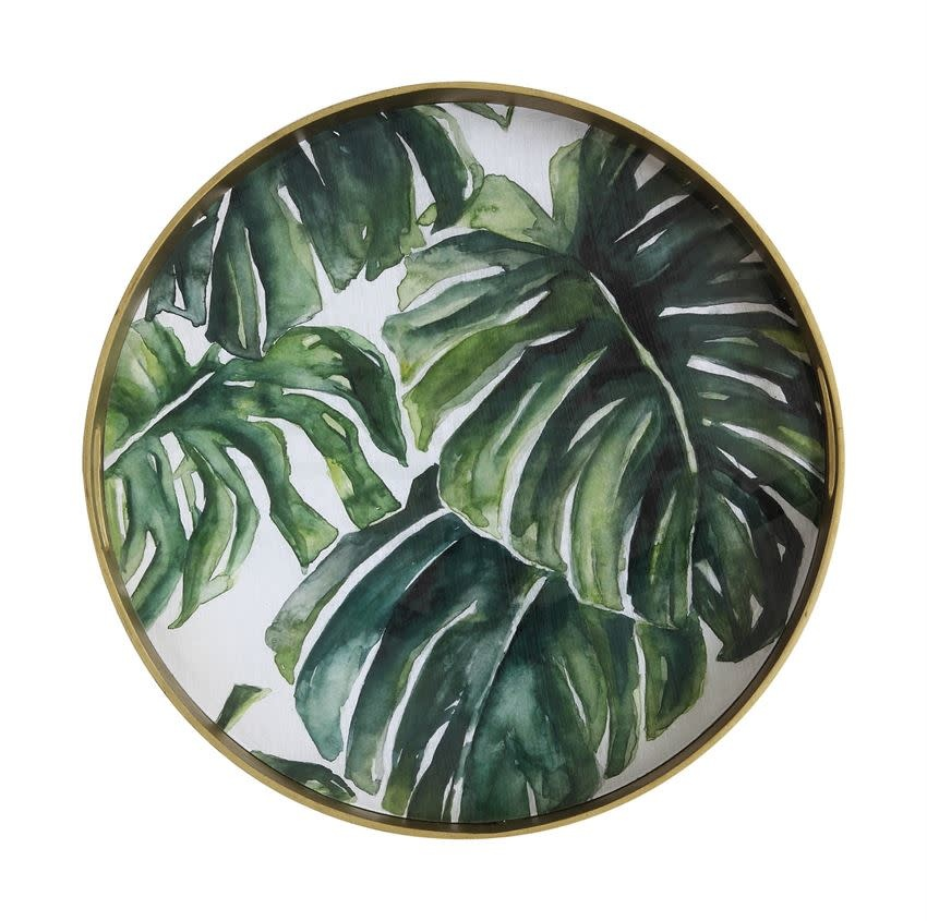 """Bloomingville USA Mirrored Tray incV w/leaves 19-1/4"""" Round"""