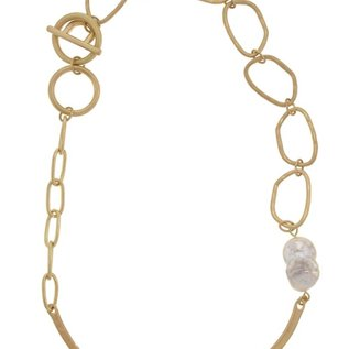 Accessorizit NK Hammered w/Baroque Pearl & Toggle - Gold