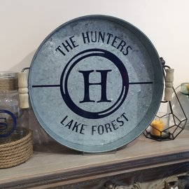 Galvanized Hunter's Style Tray (16in Round)