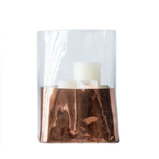 Creative Co-Op Copper & Glass Candle Holder, 6 in round