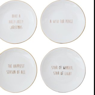 """Creative Co-Op 5"""" Gold Accent Round Plates 4 Ast"""