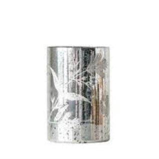 Creative Co-Op Mercury Glass Hurricane Etched 7.5H