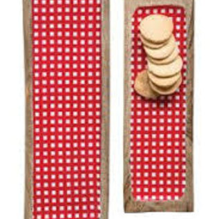 Creative Co-Op LG Enameled Mango Wood Red Gingham incV