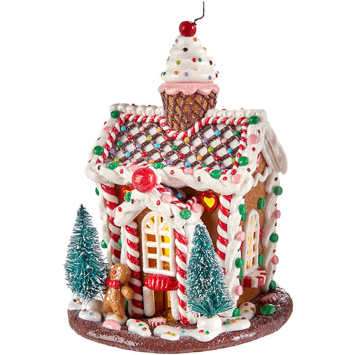 "RAZ Lighted Gingerbread House-11.5"""