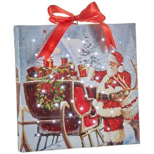 "RAZ ORN Santa w/Sleigh Lighted Print 6"""