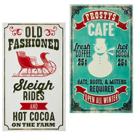 RAZ Frosty's Cafe and Sleigh Rides Stamped Metal Wall Art