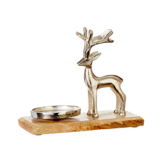 "RAZ Deer Candle Holder 8"" Aluminum"