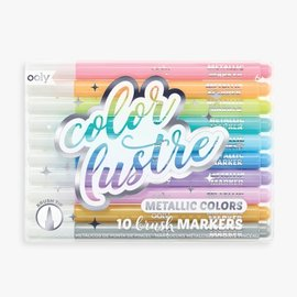 Ooly Color Lustre Metallic Brush Markers S/10