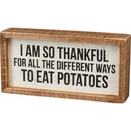 Primitives by Kathy Inset Box Sign - Eat Potatoes