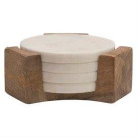 Bloomingville USA Marble Coasters w/Mango Wood Holder