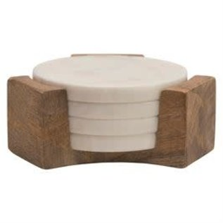 Bloomingville USA Marble Coasters w/Mango Wood Holder