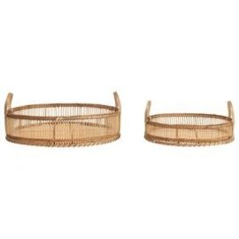 """Bloomingville USA Bamboo Tray w/Handles 14"""" round x3"""" H"""