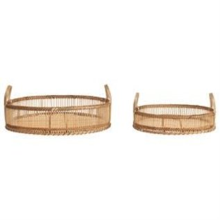 """Bloomingville USA Small Round Bamboo Tray w/Handles 14x3"""" H"""