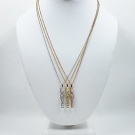 Pave Crystal LOVE Vertical Necklace