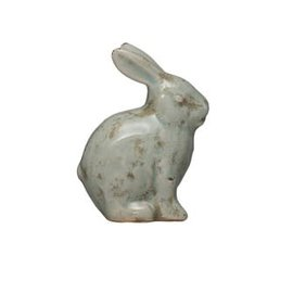 Creative Co-Op Terra-Cotta Rabbit, Distressed Aqua Finish