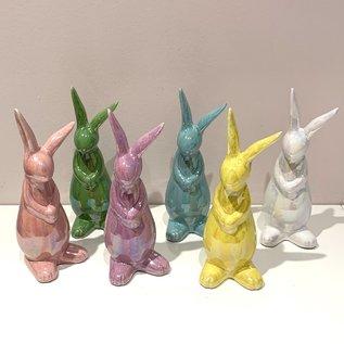"Iridescent Stoneware 7"" Bunny (flowers sold sep.)"