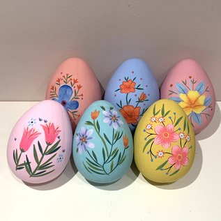 180 Degrees Hand Painted Papermache Floral Egg (set/6) 6""