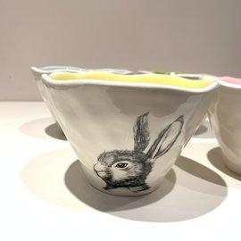 180 Degrees Ceramic Rabbit Bowl (choose interior color)