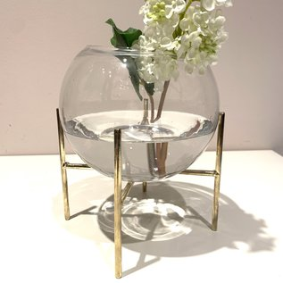 Bloomingville USA Glass Vase/Planter w/Metal Stand, Distressed Gold, set of 2