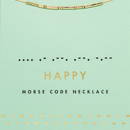 Lucky Feather Morse Code HAPPY Necklace (14K gold dipped beads on cord)