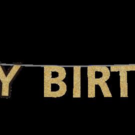 Party Partner Design Gold Happy Birthday Banner