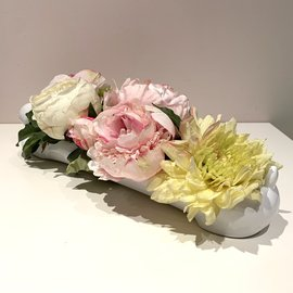 Peony & Other Permanent Floral in Ceramic Bunny Planter