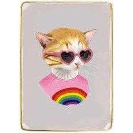 "galison Rainbow Kitten Animal Portraits Porcelain Tray 4.5x6.25"""