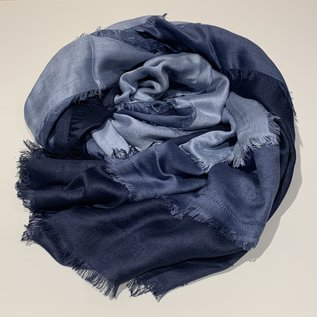 Color-Block Eyelash-Edge Scarf Viscose
