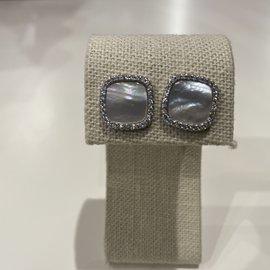 MofPearl/Pave Square Earrings