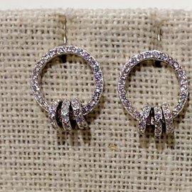 Pave Circle w/3 Dangling Circles Earrings