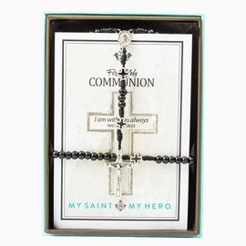 My Saint My Hero 1st Holy Communion - Rosary & Bracelet Black/Silver