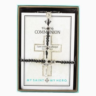 My Saint My Hero 1st Holy Communion - Rosary & Bracelet Black/Silver