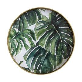 "Bloomingville USA Palm Leaf Monogram Tray 19.25"" Round"