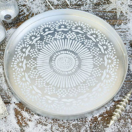 Rockflowerpaper Coco Tray 18in Round Medallion Silver