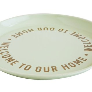 "Welcome To Our Home, 14.5"" Round Enameled Tin Tray"