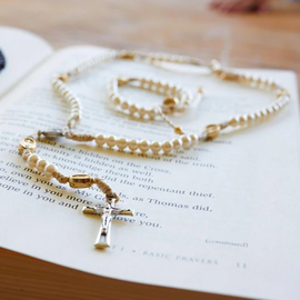 My Saint My Hero 1st Holy Communion - Rosary & Bracelet Pearl/Gold