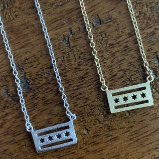 Chicago Flag Necklace 16in
