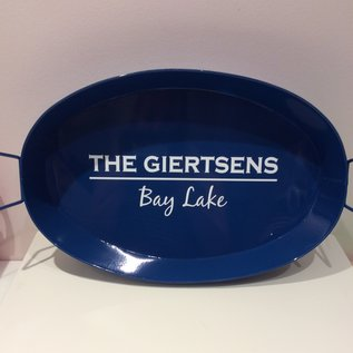 """""""Hughes Style"""" Oval Metal Tray Dark Blue, White Lettering"""